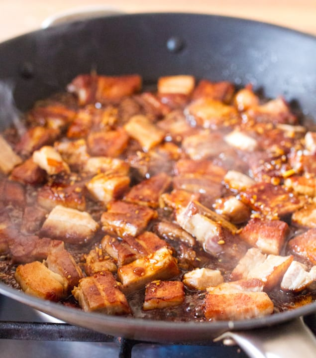 slow cooked pork belly with garlic and chili glaze