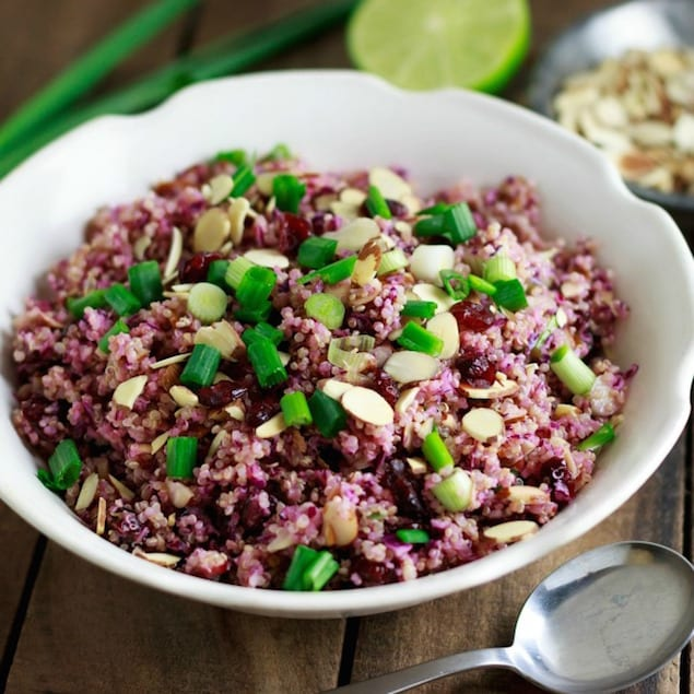 red cabbage quinoa carrots pomegranate raisins almonds crunchy quinoa ...