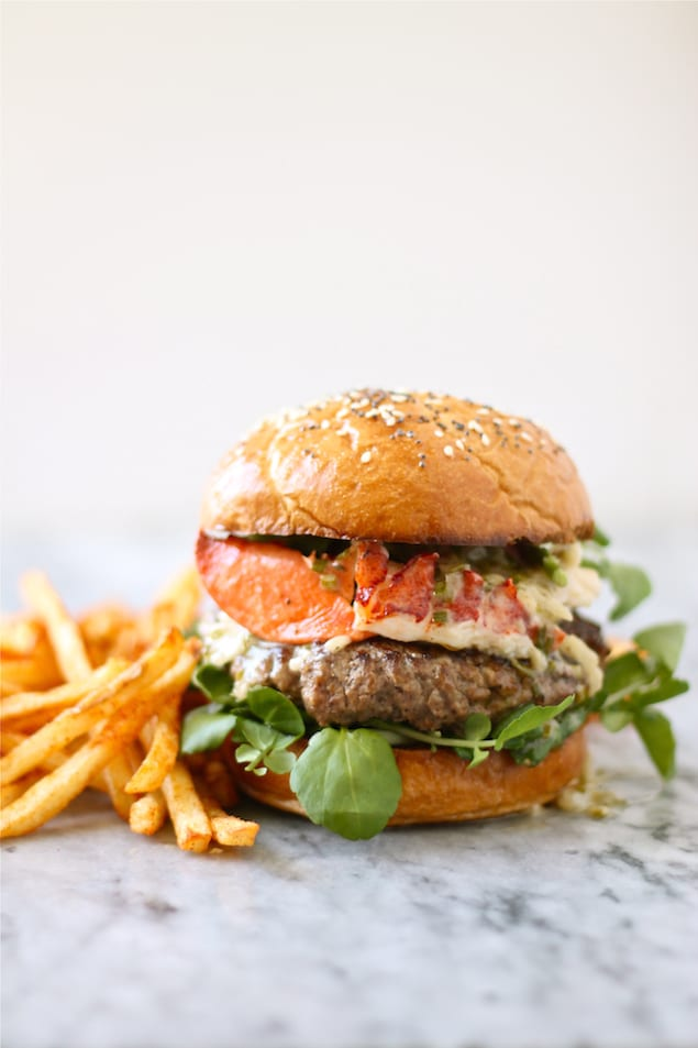The Surf and Turf Lobster Burger with Chive Beurre Blanc