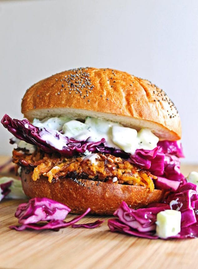Carrot and Quinoa Veggie Burger with Tahini and Tzatziki – Honest ...