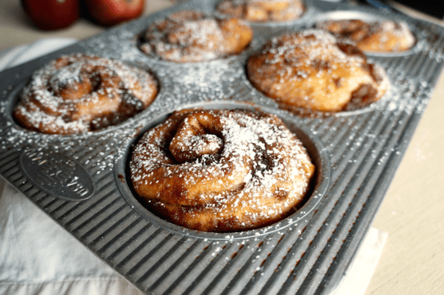 Chai Spiced Cinnamon Rolls with Pears