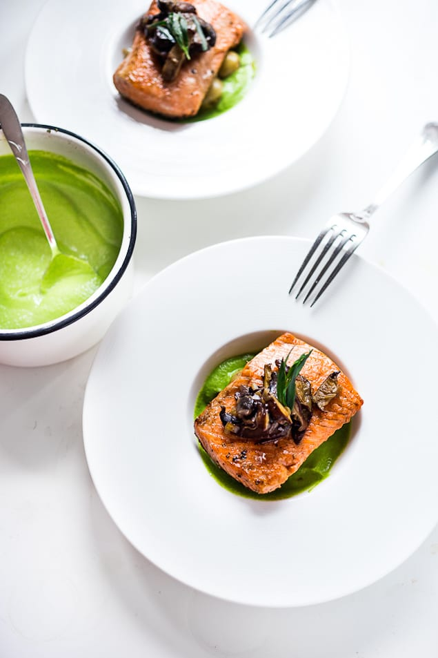 steelhead with pea sauce-400