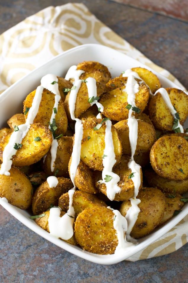 Roasted Curry Potatoes with Greek Yogurt Sauce