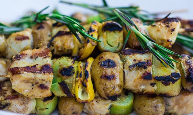 ... Grilled Leek, Potato and Chicken Skewers with Mustard-Rosemary Sauce