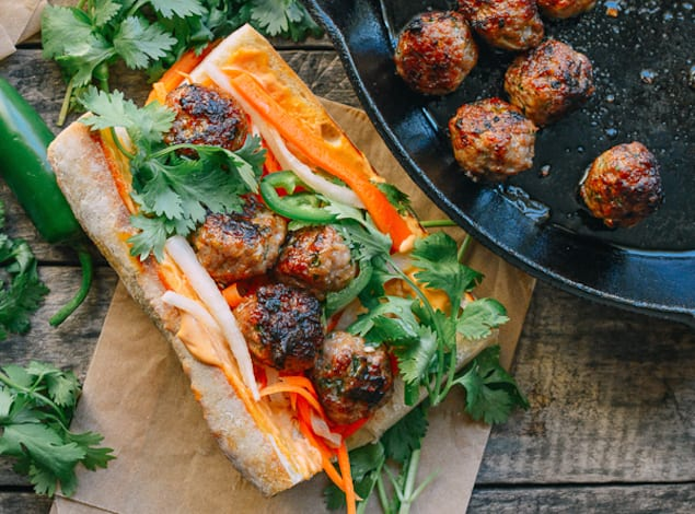Spicy Banh Mi Stuffed with Pork Meatballs – Honest Cooking