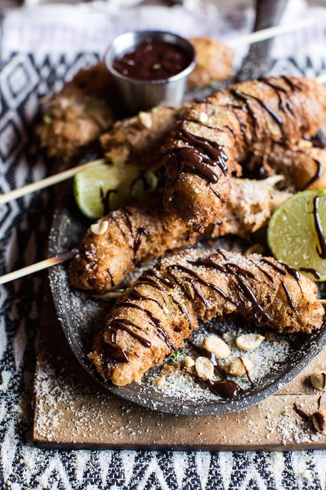 Banana-Fritters-On-a-Stick-with-Peanut-Sugar-Mexican-Chocolate-Sauce.-7