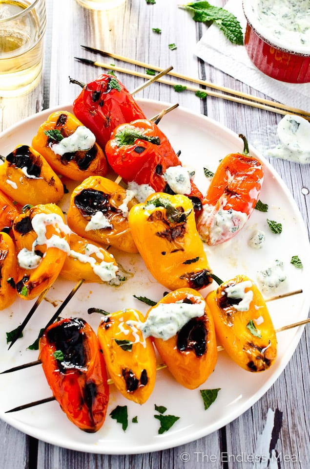 Grilled Peppers with Tzatziki Sauce