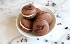 Bourbon Buttercream and Cocoa Nib Macarons