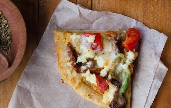 Hummus and Pepper Pita Pizza