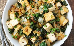 Peri-Peri Tofu with Kale and Mustard Seeds