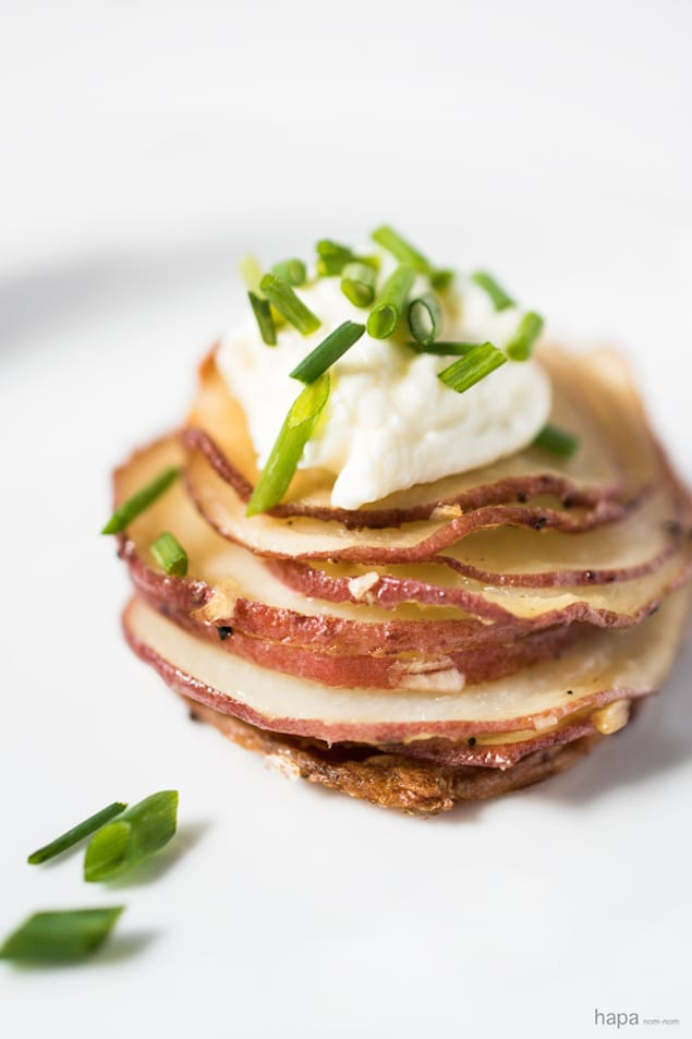 Crispy Potato Stacks with Sour Cream and Chives