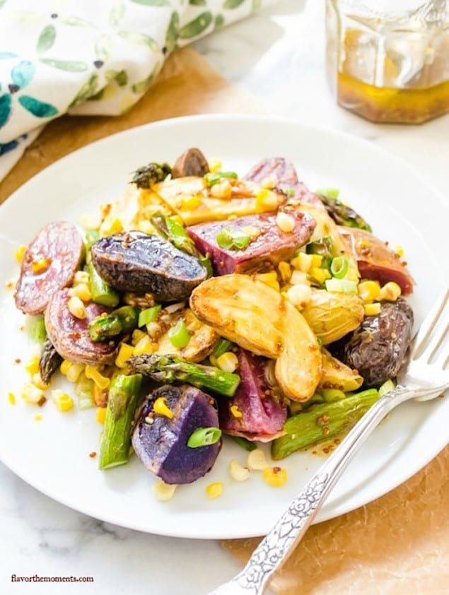 Grilled Potato and Vegetable Salad with Mustard Vinaigrette