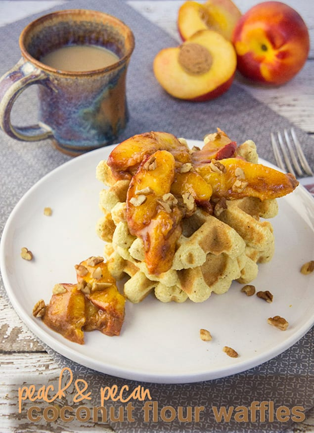 Pecan and Peach Paleo Waffles
