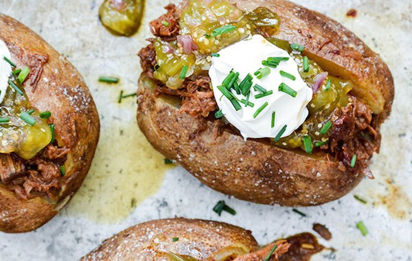 Loaded Baked Potatoes with Barbecue Beef and Tomatillo Jam