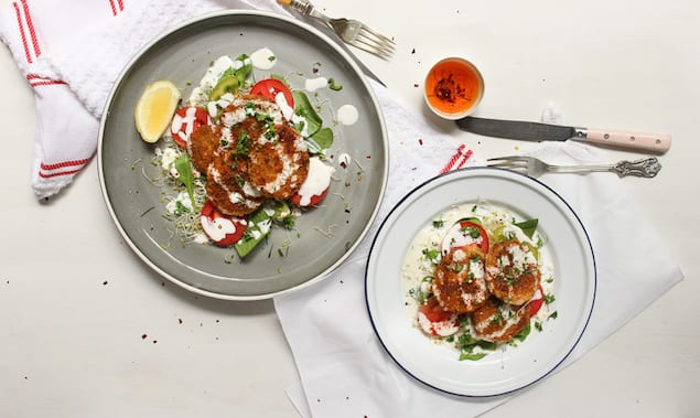 Fried Green Tomato Salad with Yogurt Dressing – Honest Cooking