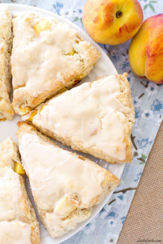 These scones taste like peach pie with vanilla ice cream on top.