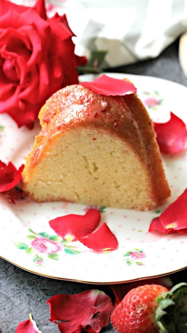 Rosewater Bundt Cake With Strawberry Glaze