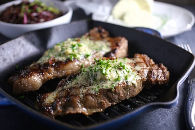 ... Summer of Blue — Grilled Steak with Blue Cheese and Chive Butter