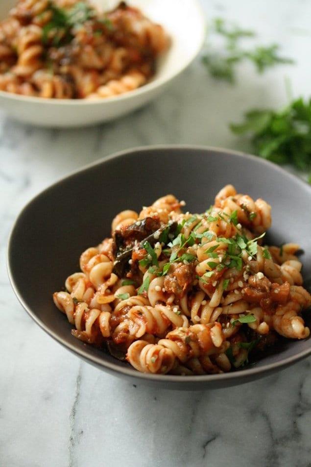 Eggplant Caponata Pasta – Honest Cooking