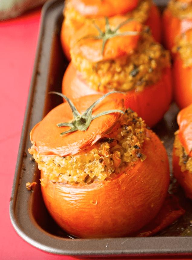 Spiced Quinoa Stuffed Tomatoes