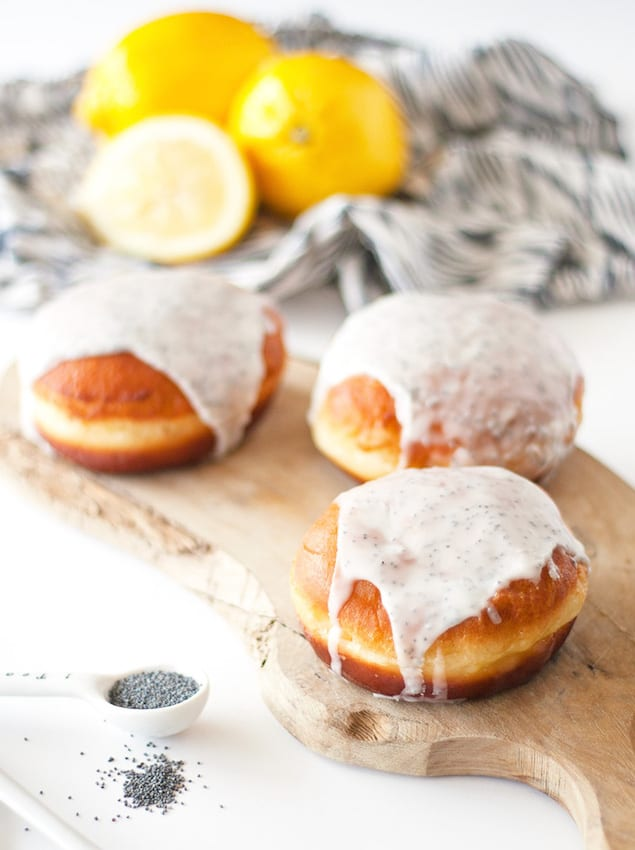 Lemon Curd Filled Donuts with Poppyseed Glaze