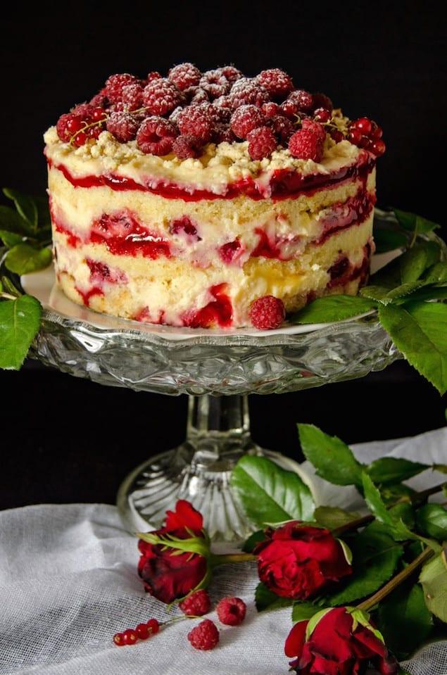 Lemon Layer Cake With Raspberry Curd
