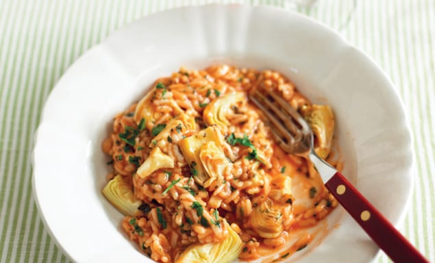 tomato-artichoke-risotto-pressure-cooker-cookbook-recipe-quick-easy-side-dinner-health-spry