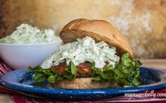 Castello Summer of Blue — Buffalo Chicken and Blue Cheese Slaw Burgers