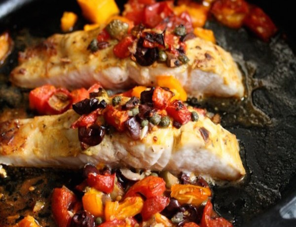 Easy Broiled Bass with Tomatoes and Olives