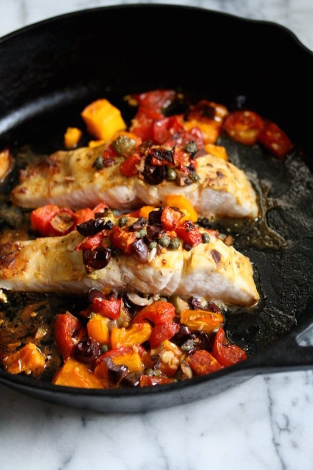 bass with tomatoes and olives print a simple broiled striped bass ...