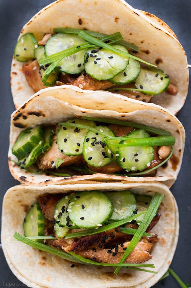 Chicken Teriyaki Tacos with Cucumber Salad
