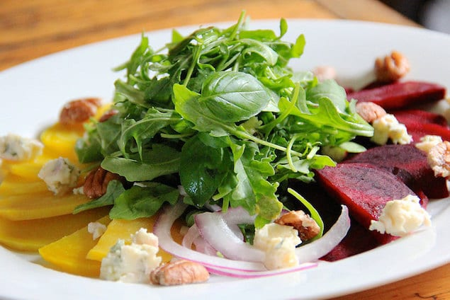 Castello Summer of Blue — Beet and Arugula Salad with Creamy Blue Cheese, Pecans and Orange Vinaigrette