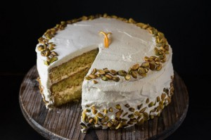 Pistachio and Orange Cream Cheese Cake