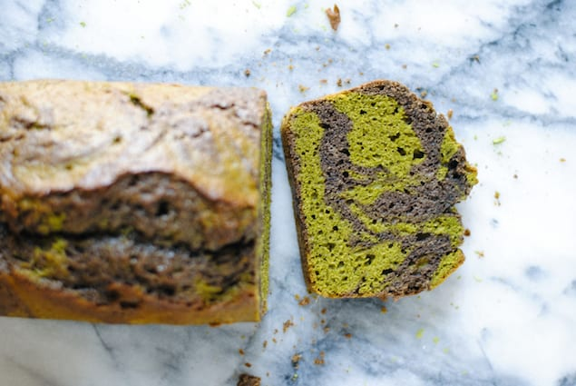 Matcha and Black Sesame Swirl Pound Cake