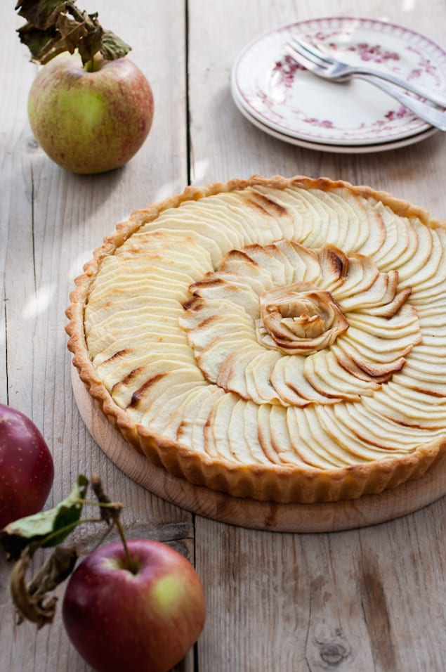 This is a classic French apple tart, with crispy dough covered with a ...