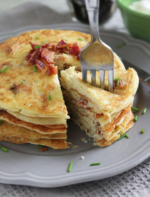 Made with potatoes instead of flour, these savory pancakes with bacon ...