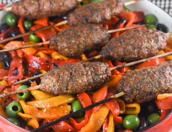 grilled meatballs and roasted red peppers