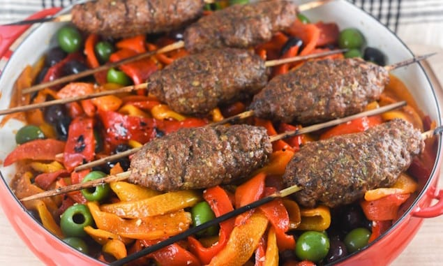 Grilled Meatball Kebabs and Roasted Pepper Salad