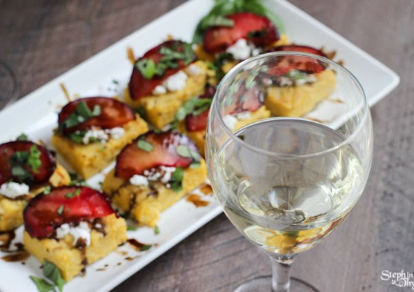 Garnacha Day — Goat Cheese and Plum Polenta Squares