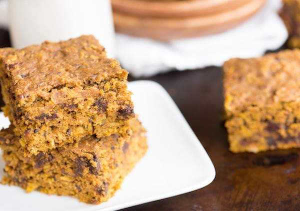 Chocolate Chip and Pumpkin Bars with Oats