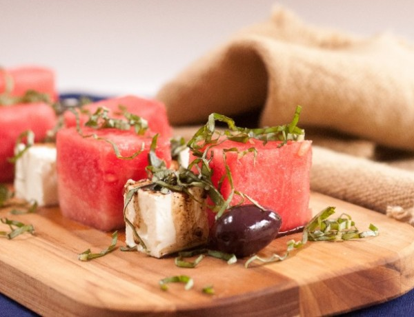 Watermelon and feta salad with basil and balsamic vinegar
