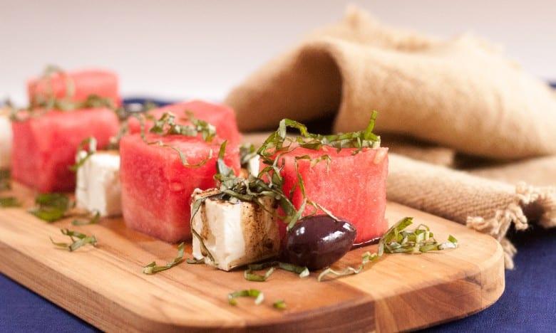 Watermelon and feta salad with basil and balsamic vinegar