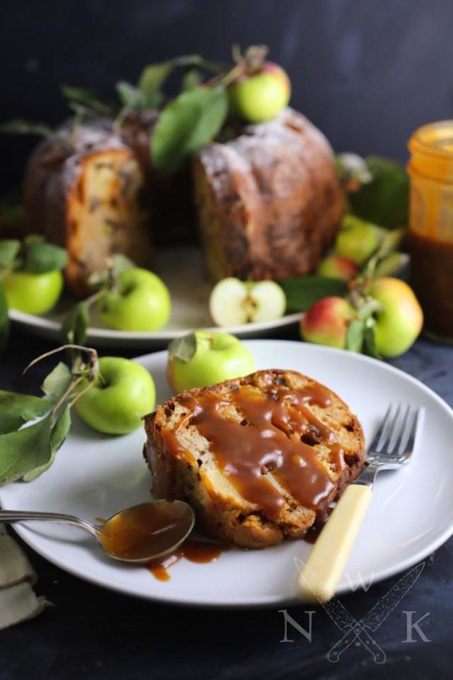 Sour Cream Apple Cake With Toffee And Salted Caramel Sauce