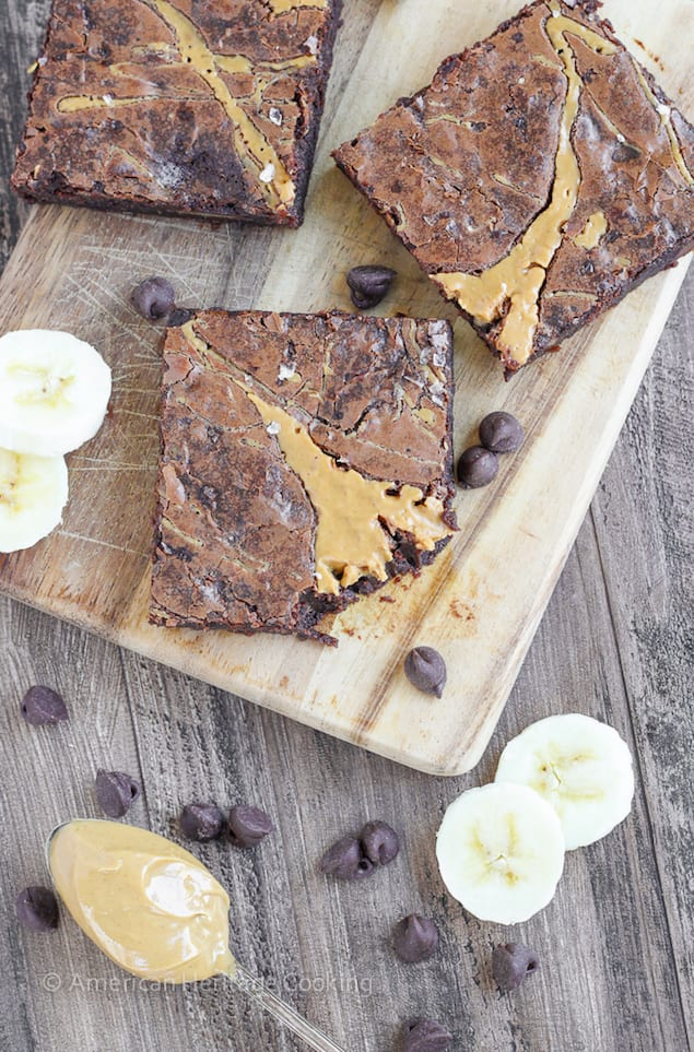 Chewy Triple Chocolate Peanut Butter Banana Brownies