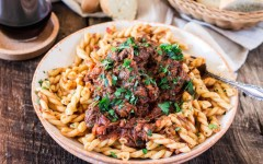 Hearty Braised Beef and Gemelli Pasta