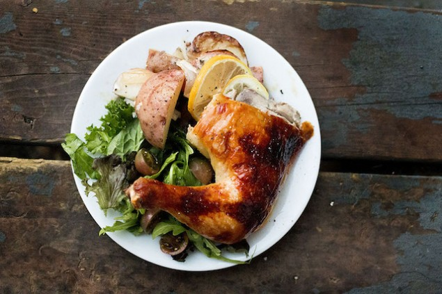 roasted honey chicken print a whole roasted chicken with lemons and ...