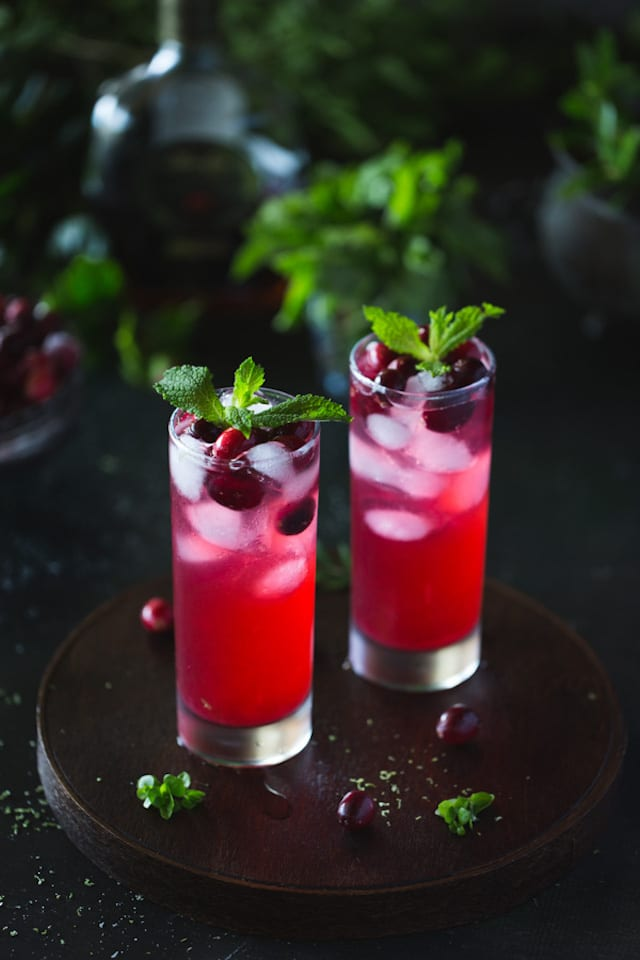 Cranberry Rum Punch with Mint