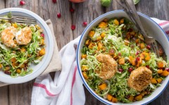 Brussels Sprout and Butternut Salad with Pomegranate and Crispy Goat Cheese