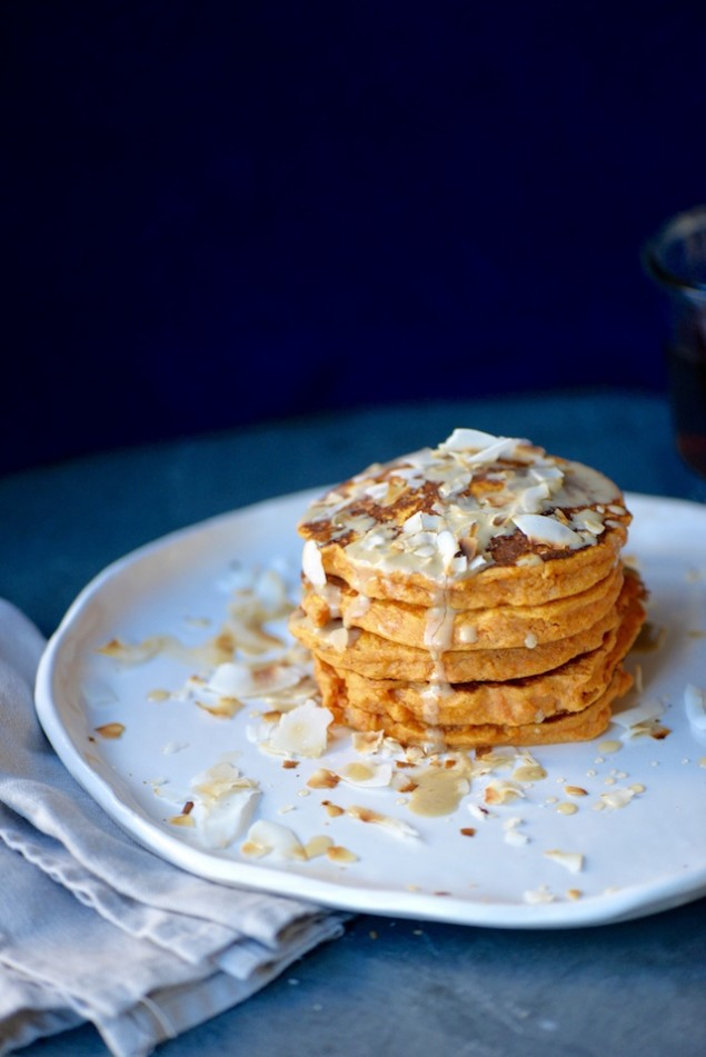 Tahini and Maple Sweet Potato Pancakes with Coconut