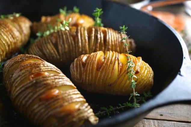 Hassleback Potatoes and Garlic Confit